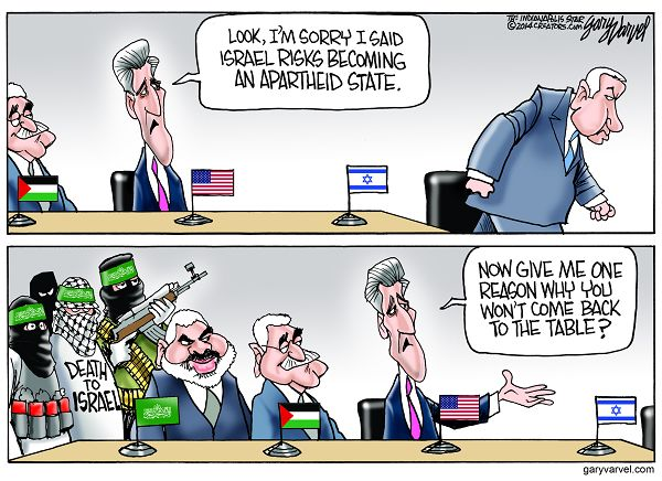 Cartoonist Gary Varvel: John Kerry's apology and Middle East pea