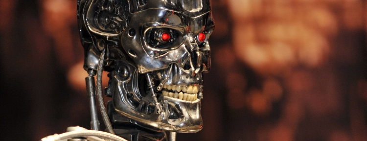 A full-scale figure of terminator robot